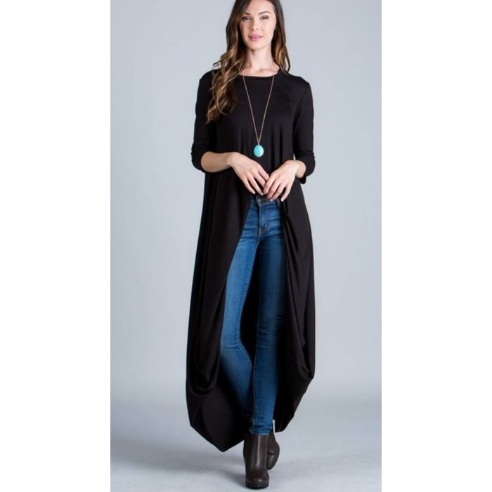 Black High Low Maxi Top