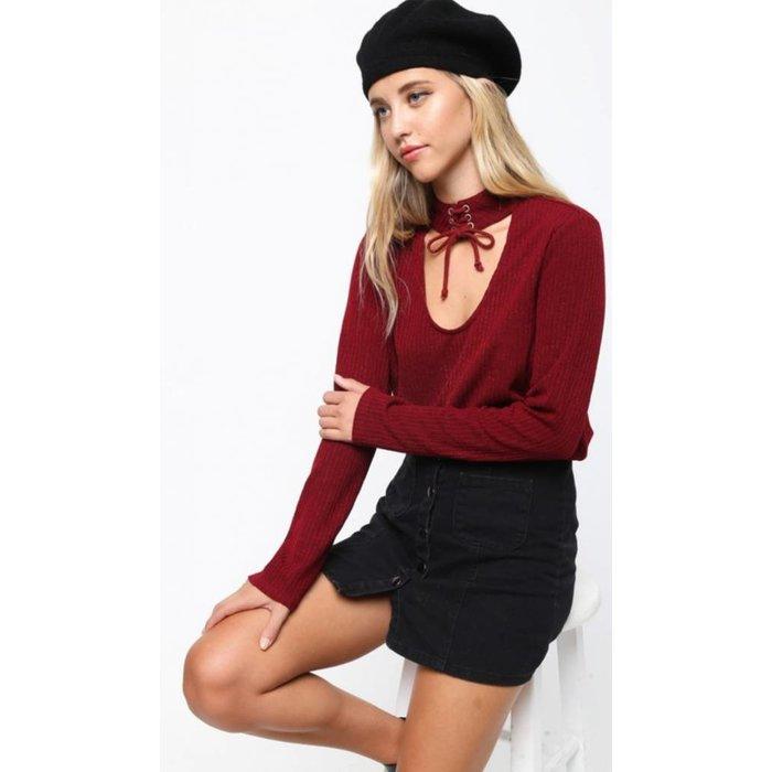 Lace Up Choker Burgundy Sweater