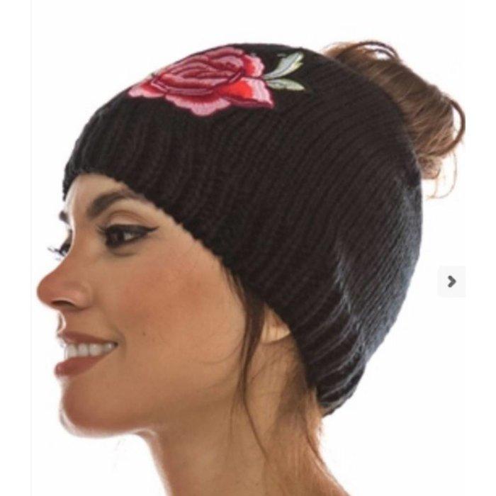 Embroidered Ponytail Bun Beanie