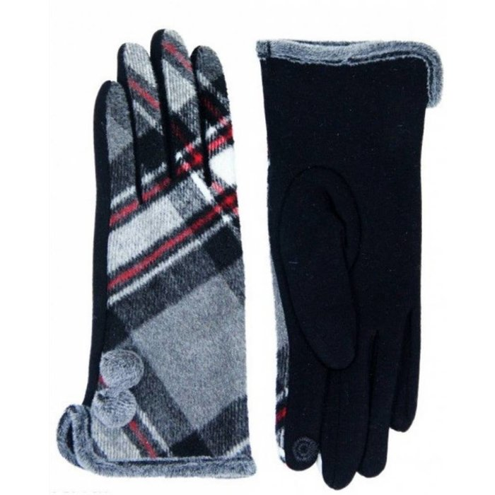 Plaid Smart Tip Gloves with Pom