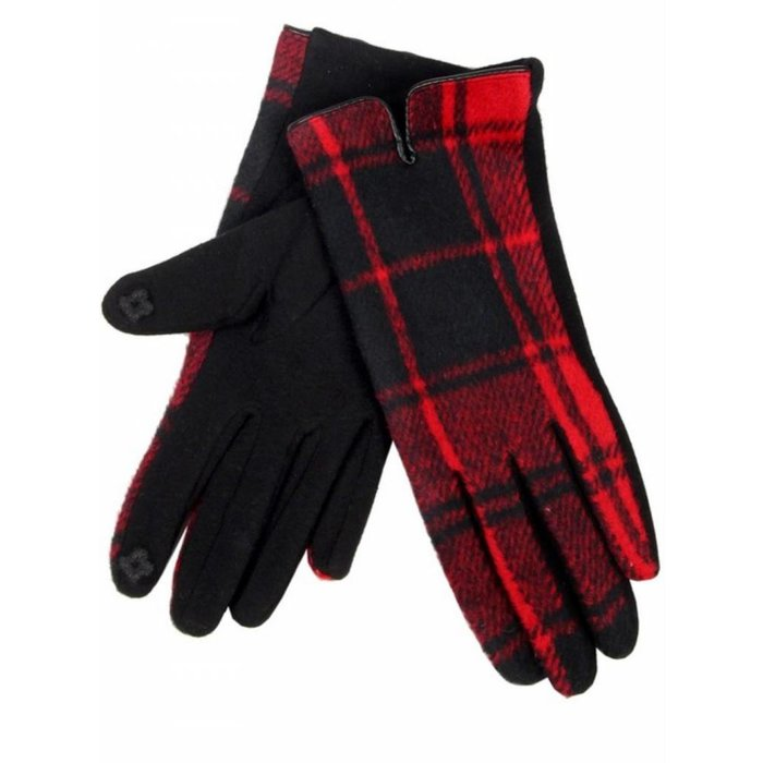 Red Plaid gloves with smart touch sensors - ONE SIZE