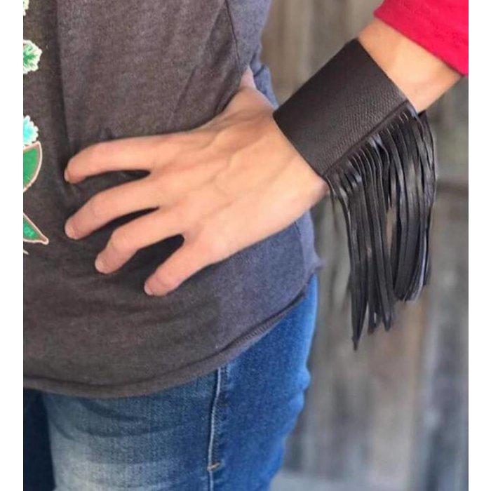 Brown Cattilac Fringe Cuff Bracelet