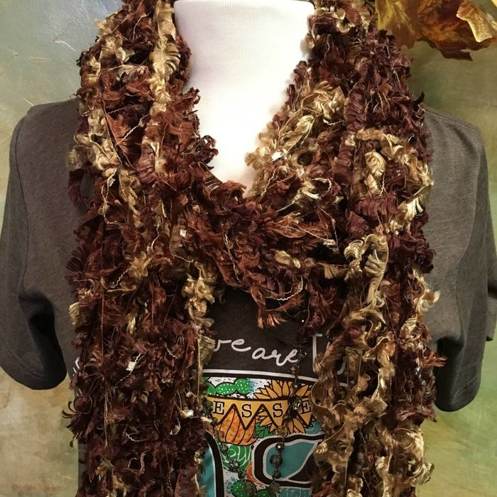 Brown Crochet Ribbon Scarf