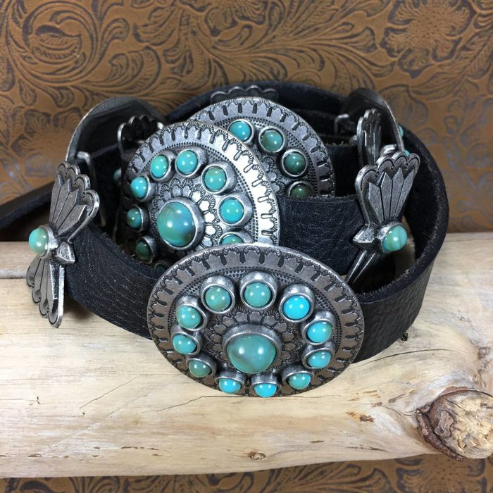 "36"" Genuine Leather Concho Belt with Turquoise Stones"