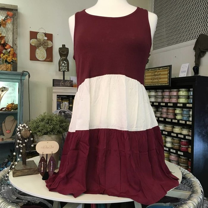 Maroon & White Color Block Tunic