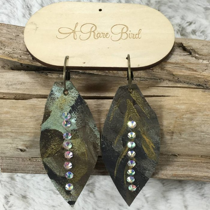 Camo Feather Leather AB Earrings