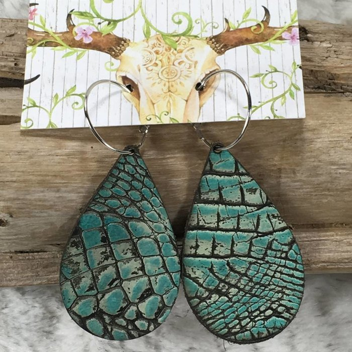 Teardrop Leather Turquoise Alligator Earring - #2