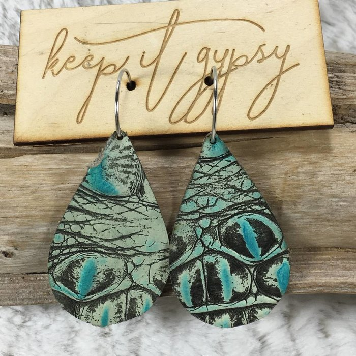Teardrop Leather Turquoise Alligator Earring - #3