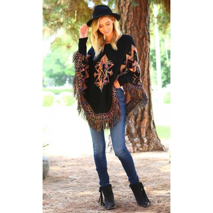 Multi Color Aztec Poncho Dolmon Top