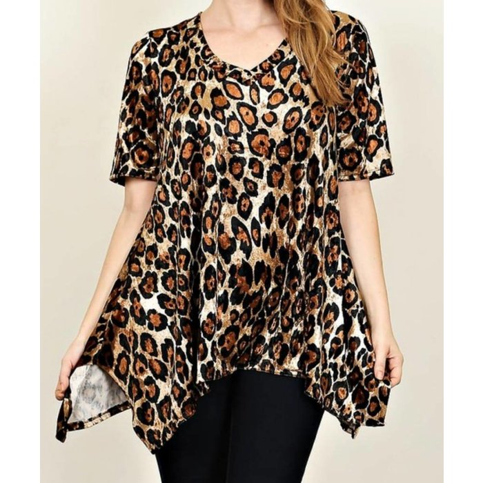 Plus Brown Leopard Velvet Tunic