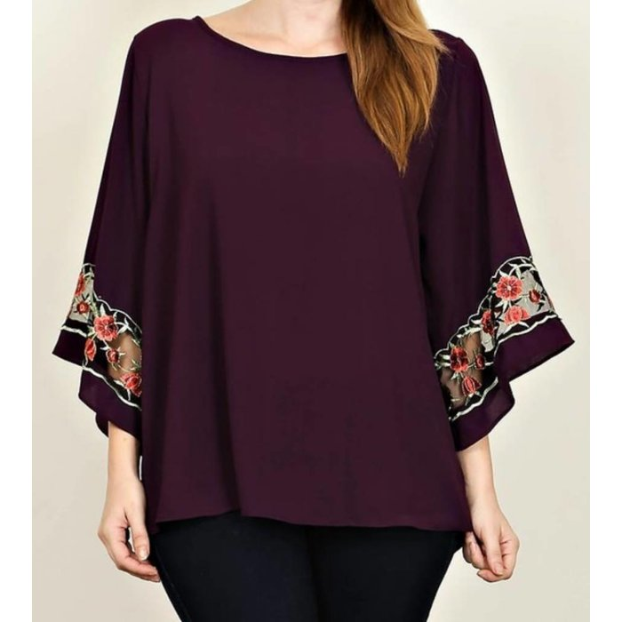 PLUS Plum Floral Embroidered Sleeve Top