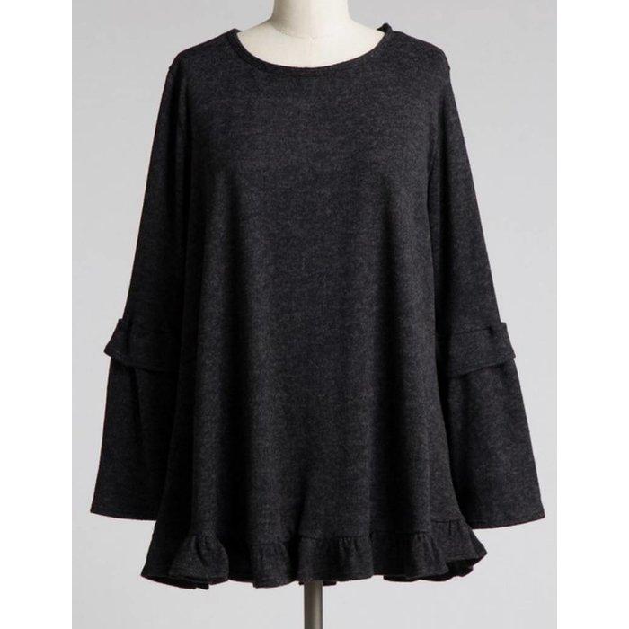 PLUS Ruffle Sleeve Charcoal Sweater