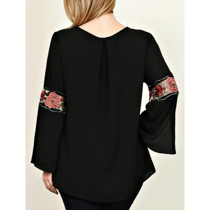 PLUS Black Floral Embroidered Sleeve Top