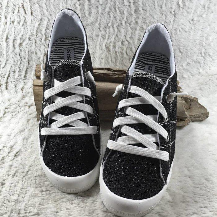 Neema Black Glitter Tennis Shoe