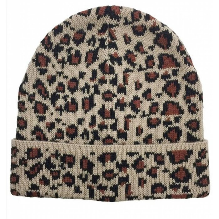 Solid Leopard Beanie with Leopard Trim