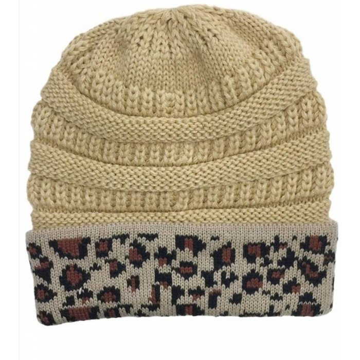 Taupe Beanie with Leopard Trim