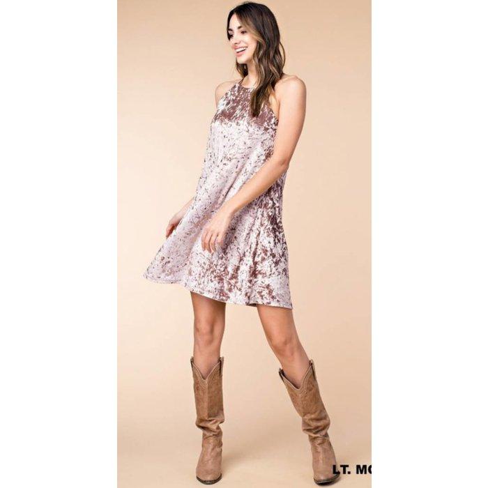 Mocha Velvet A-Line Camisole Dress