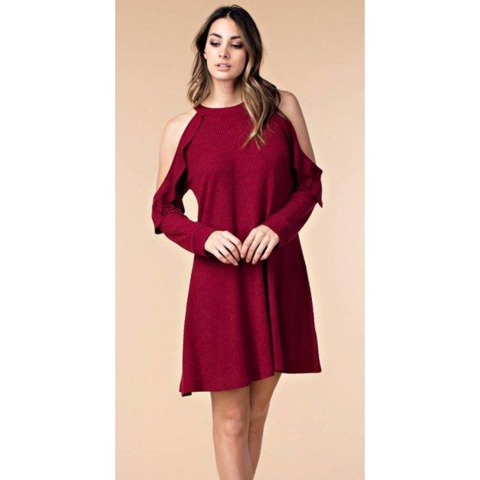 Burgundy Ribbed Cold Sholder Dress
