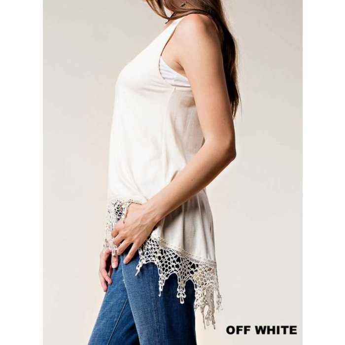 Off White Tank with Bottom Lace Trim