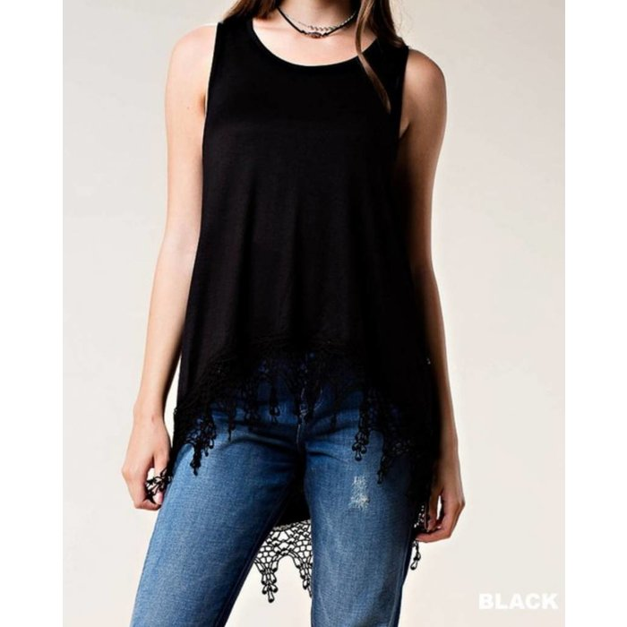 Black Tank with Bottom Lace Trim