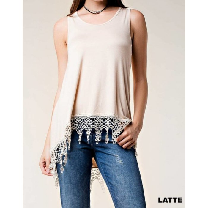 Latte Tank with Bottom Lace Trim