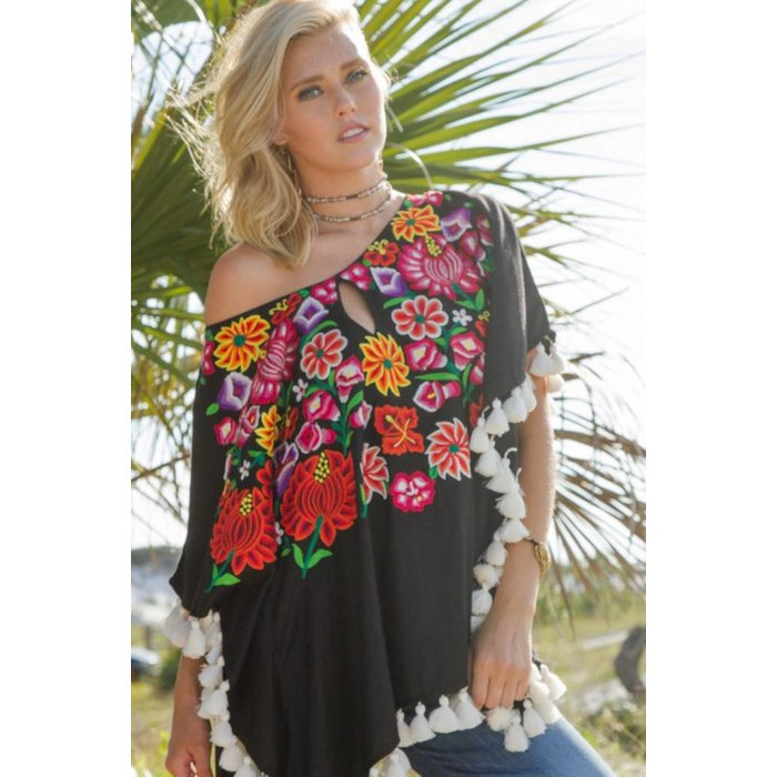 Black Embroidered Poncho with Keyhole & Tassels by Judith March