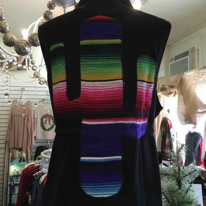 Serape Cactus Black Vest