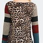 Plus Leopard Gold Pocket Striped Sleeve Top