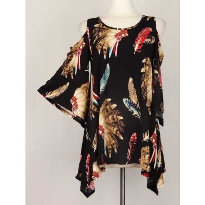 Plus Black Indian Feather Cold Shoulder Top