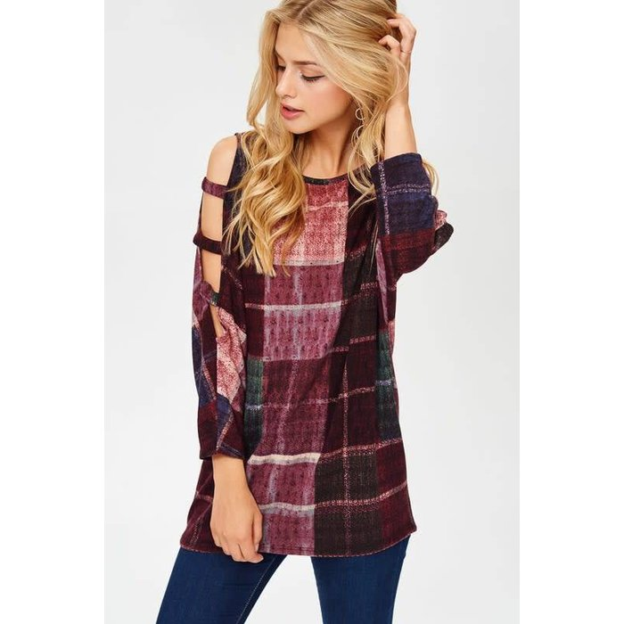 Plus Plaid Slit Sleeve Top