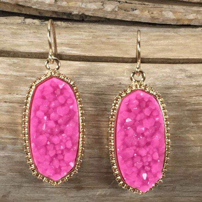 Pink Druzy Oval Fashion Earrings
