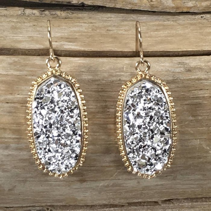 Silver Druzy Oval Fashion Earrings