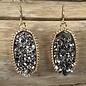 Charcoal Druzy Oval Fashion Earrings