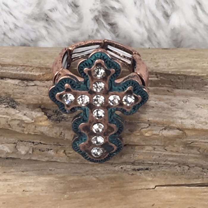 Bronze and Patina Aztec Cross Ring