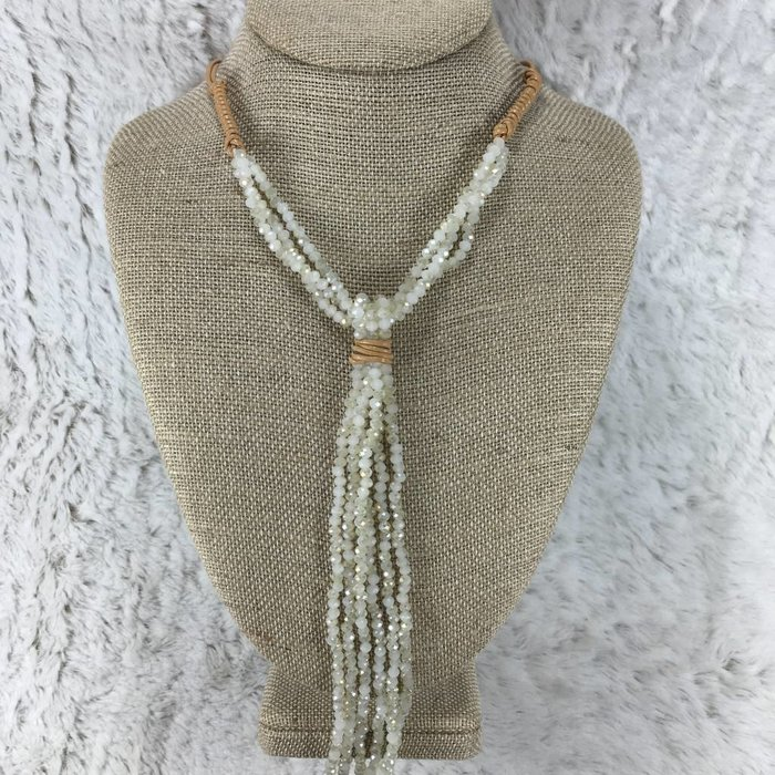 Leather Wrap Ivory Crystal Necklace