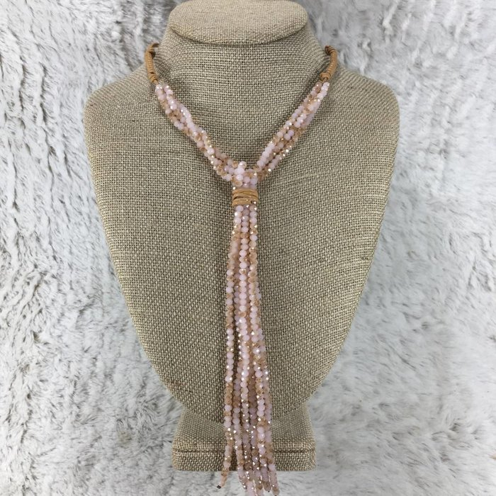 Leather Wrap Pink Crystal Necklace