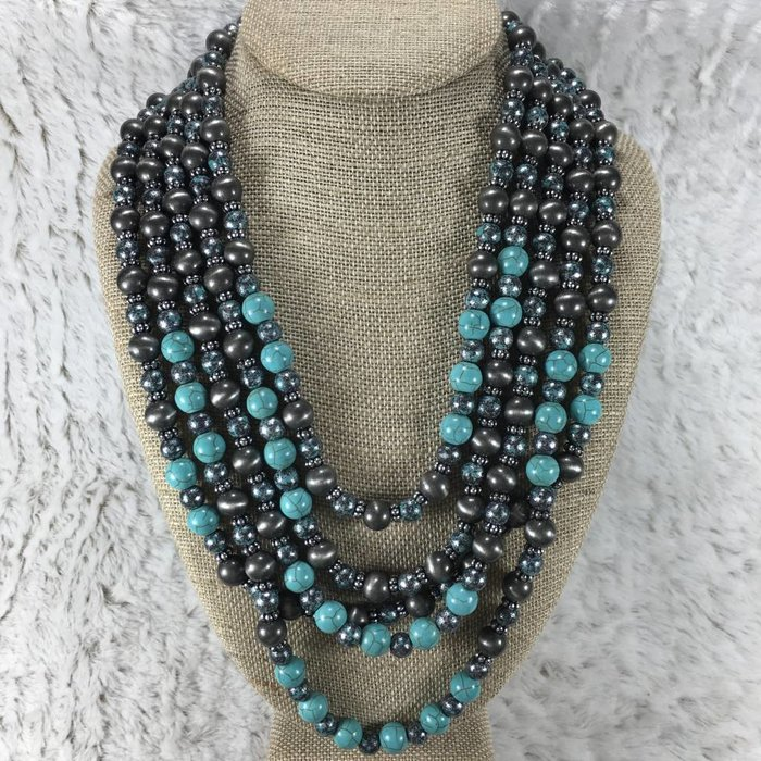4-Strand Turquoise & Patina Necklace Set