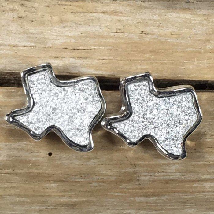 Silver Druzy Texas Studs Earrings