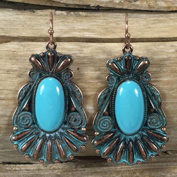 Navajo Turquoise Patina Earrings