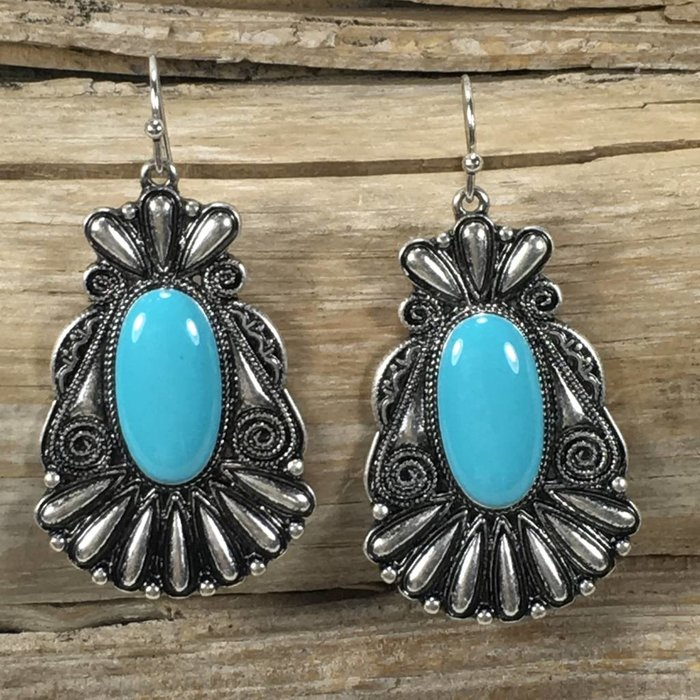 Navajo Turquoise Silver Earrings