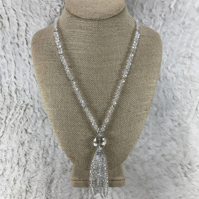 Clear Long Crystal Tassel Necklace 30""