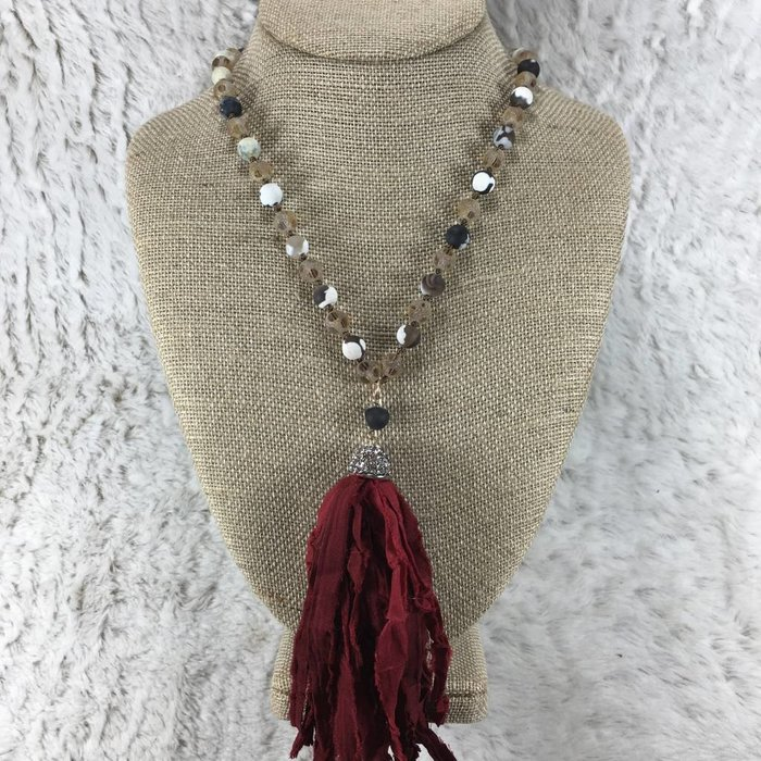 Red Rag Tassel Necklace 30""