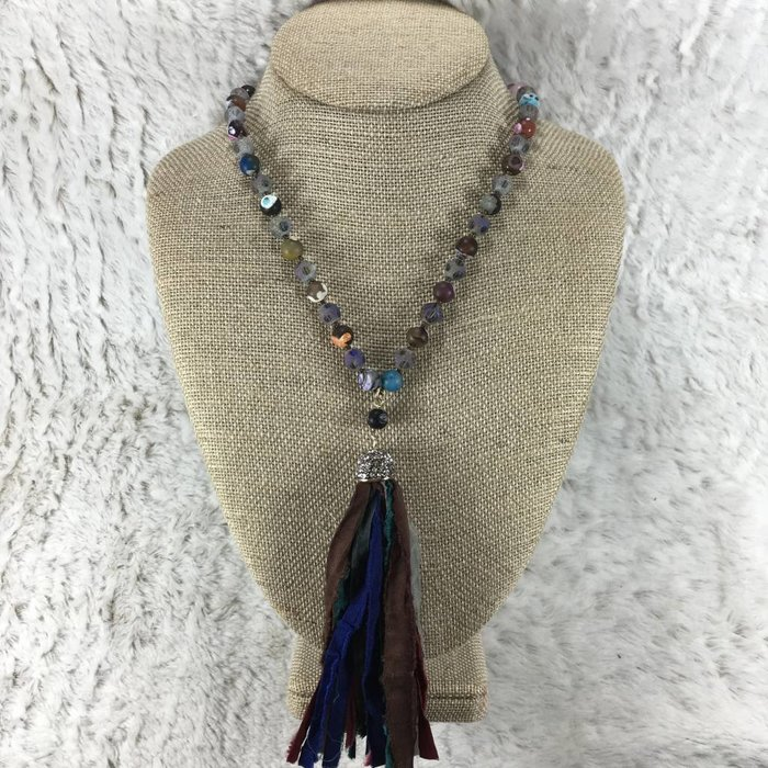 Multi Rag Tassel Necklace 30""