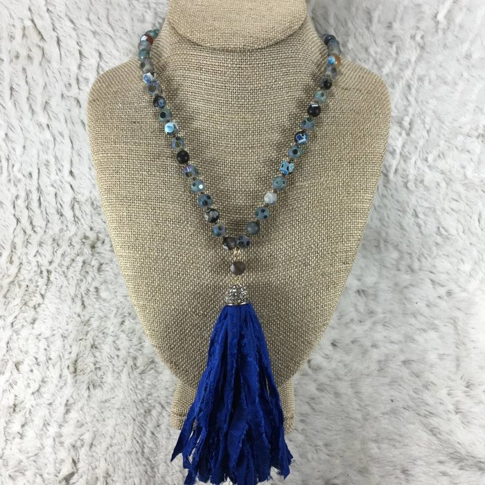 "Blue Rag Tassel Necklace 30"""