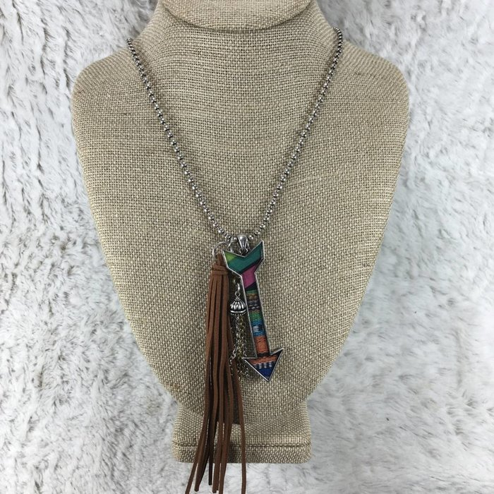 Serape Arrow Tassel Necklace 32""