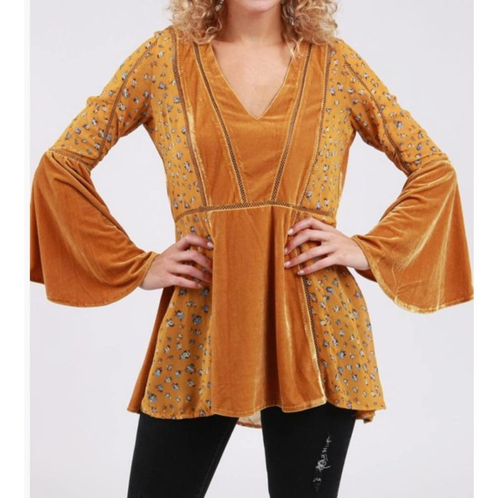 Mustard Multi 3/4 Flutter Peasant Top
