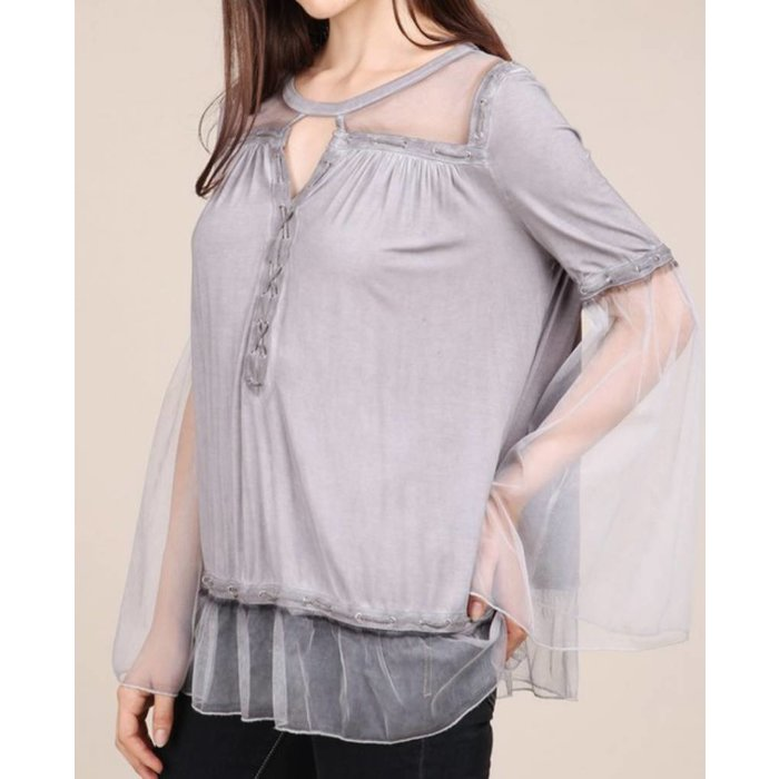Grey Long Bell Sleeve Mesh Peasant Top