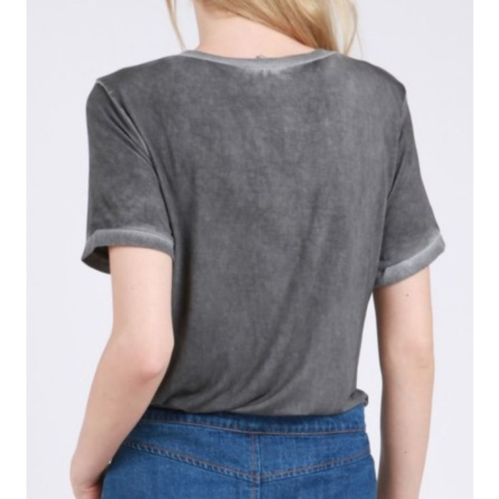 Charcoal V-Neck Raw Edged Top