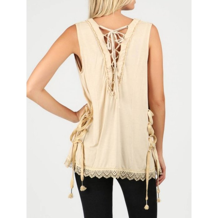 Honey Gold Lace Up Vest