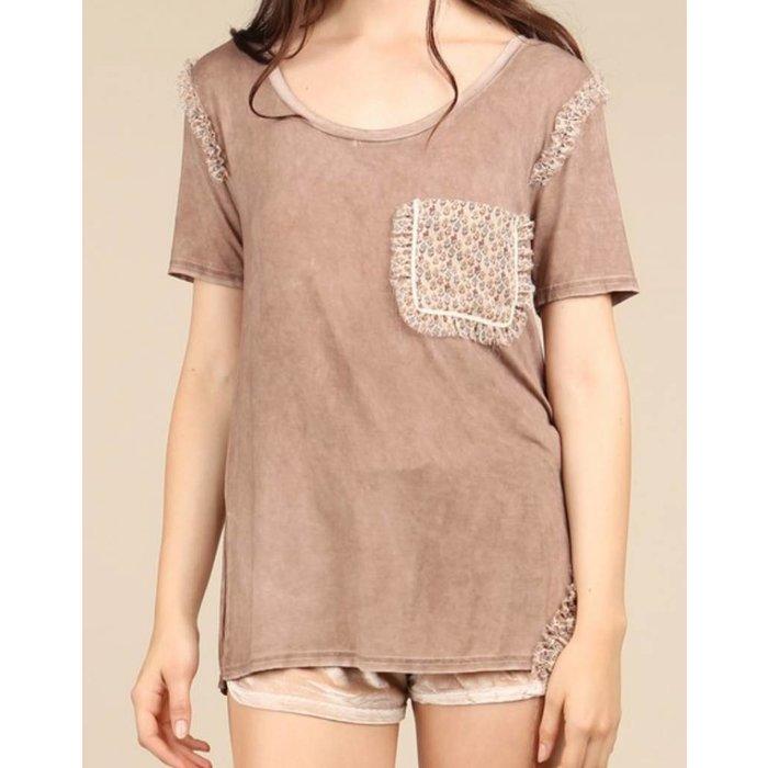 Cocoa Ruffle Detailed Hem T-Shirt